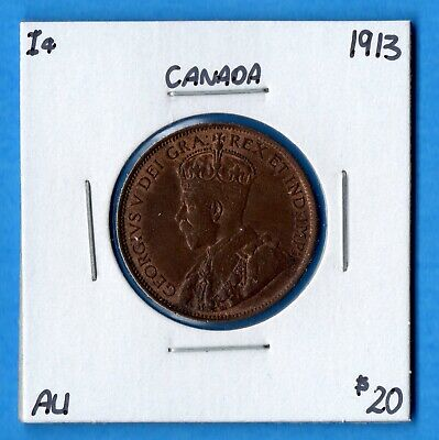 Canada 1913 1 Cent One Large Cent Coin - AU