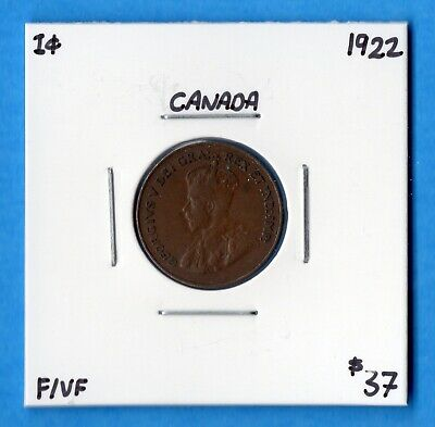 Canada 1922 1 Cent Small Penny Coin - Key Date - F/VF