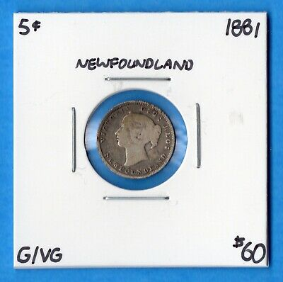 Canada Newfoundland 1881 5 Cents Five Cent Small Silver Coin - G/VG