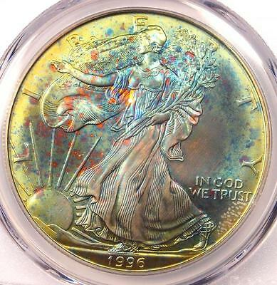 1996 Toned American Silver Eagle Dollar $1 ASE - PCGS MS67 - Rainbow Toning Coin