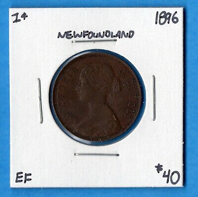 Canada Newfoundland 1896 1 Cent One Large Cent Coin - EF