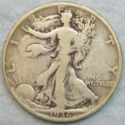 1936 P Walking Liberty Half Dollar 90% Silver Philadelphia Mint Halves 490