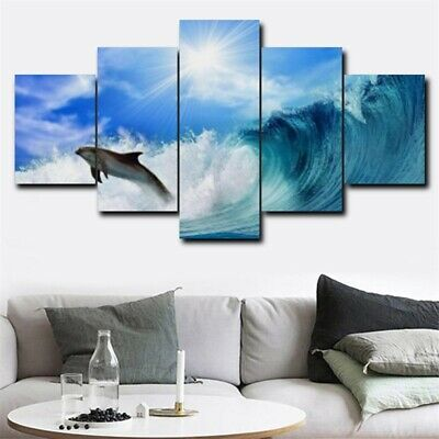 Dolphin On Sea Wave 5Pcs Art Picture Modern Home Decor Canvas Oil Wall Painting