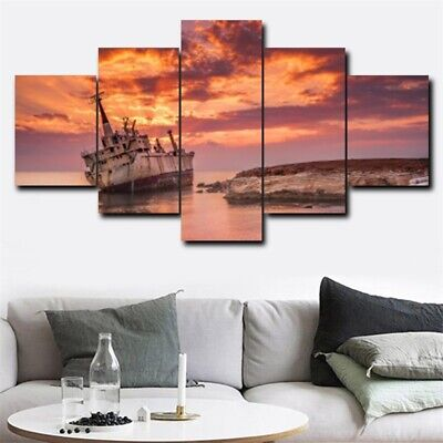 5Pcs Seaside Sunset Glow Art Picture Modern Home Decor Canvas Oil Wall Painting