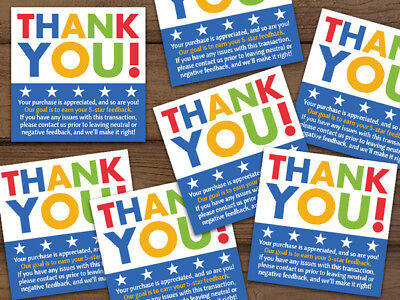100 Thank You Your purchase is appreciated 5-star labels stickers blue 2x2