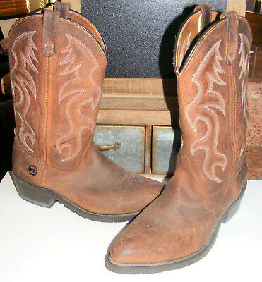 Double-H Western Pull-On COWBOY BOOTS Brown Leather Mens Composite OutS 10.5 EE