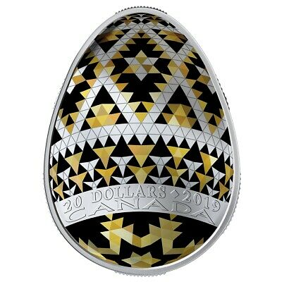 CANADA 2019 $20 1oz Pure Silver - Ukrainian Pysanka Egg Shaped Gold Spring Coin