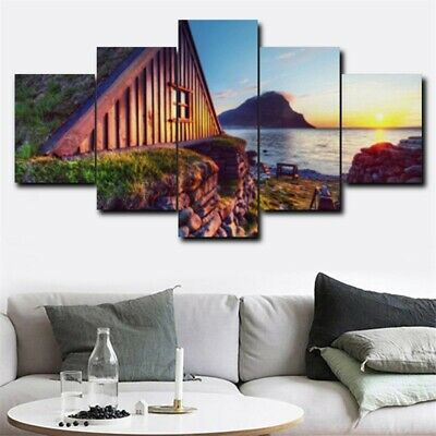5Pcs Seaside House Sunset Art Picture Modern Home Decor Canvas Oil Wall Painting