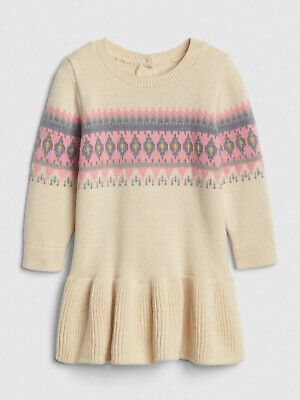 c4726ee98 NWT BABY GAP Fair Isle Heart Christmas Valentine s Day Sweater Dress ...