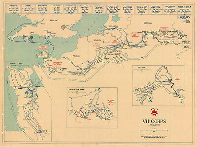 VII Corps US Army Military War Map D-Day - VE Day Battle of the Bulge WWII Print