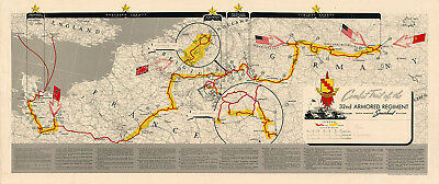 Trail of the 32nd Armored Infantry Regiment US Army Military War WWII Map Poster