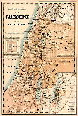 1895 Map Palestine During Monarchy Israel Christianity Wall Art Poster Print