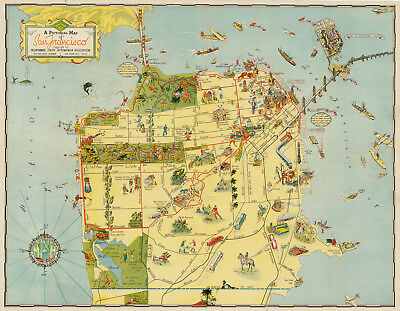 Pictorial Map of San Francisco Art Poster Print Wall Decor Golden Gate History