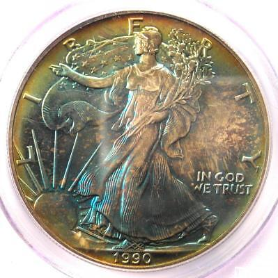 1990 Toned American Silver Eagle Dollar $1 ASE - PCGS MS67 - Rainbow Toning Coin