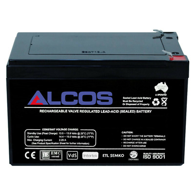 ALCOS 12V 7Ah Sealed Lead Acid Alarm Security Rechargeable AGM Battery 1270 1272