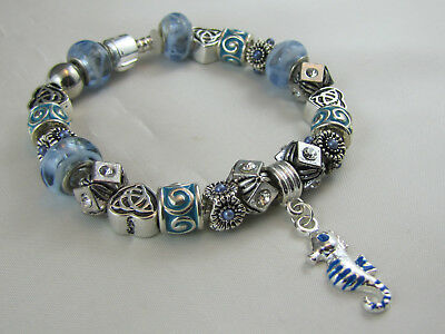 "925 SILVER STAMPED 20cm BEAUTIFUL EUROPEAN STYLE CHARM BRACELET ""BLUE SEAHORSE"""