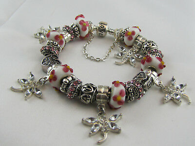 "BEAUTIFUL 925 SILVER STAMPED 20cm EUROPEAN STYLE CHARM BRACELET "" DAUGHTER """