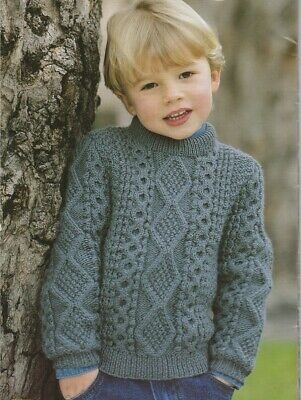 ARAN Children knitting pattern jumpers sweaters cable Copy 2-8 years