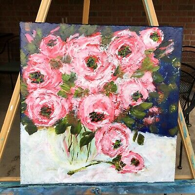 Abstract Floral Painting Bouquet Flowers Acrylic Painting On