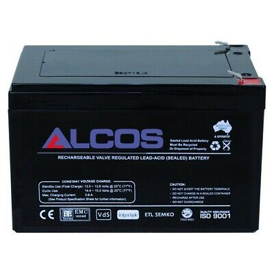 ALCOS 12V 12Ah AGM Sealed Lead Acid Rechargeable Battery Standby Backup UPS