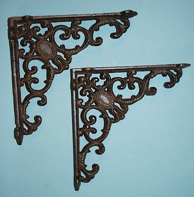 "(2)Pcs, 8 Inch Shelf Brackets, 8"" Cast Iron Shelf Brackets, Vintage Look,  B-29"