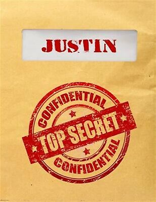 Justin Top Secret Confidential Composition Notebook for Boys by Dartan Creations