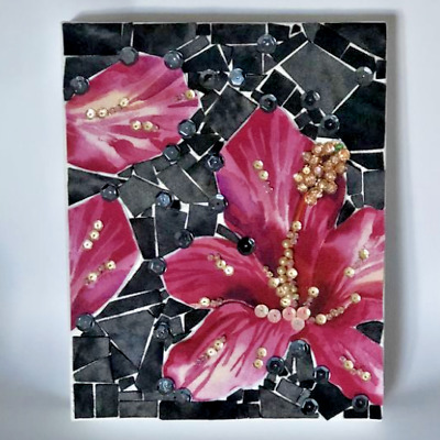 handmade hibiscus mosaic wall hanging picture canvas mixed media dimensional art