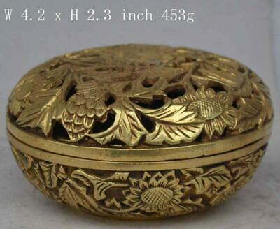 china old collectable handmade ornament rare statue flower copper censer d02