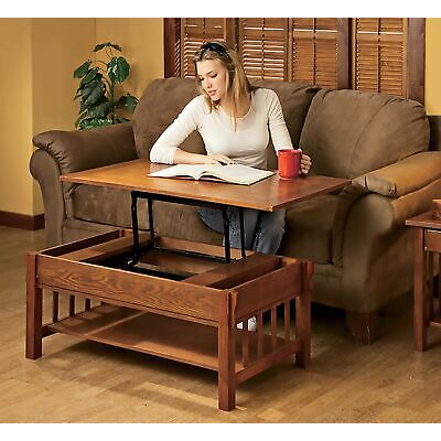 Mission-Style Oak Veneer Wooden Rectangular Lift-Top Coffee Table Home Furniture