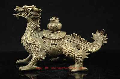 chinese old copper plating silver CARVED AUSPICIOUS DRAGON STATUE f02
