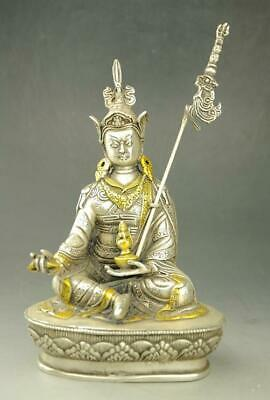 chinese old copper plating silver gild sitting Buddha by Hand carved Statue e02