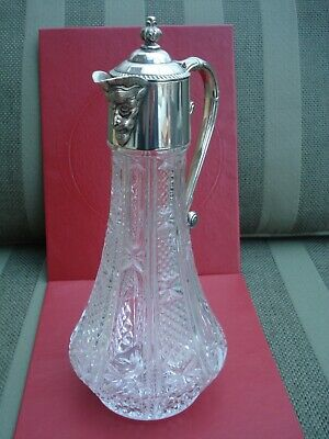 Vintage Claret Pitcher/Jug Wine Decanter - Silver Plated Lid and Handle