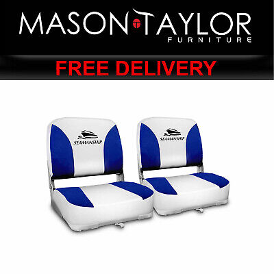 MT Seamanship Set of 2 Folding Swivel Boat Seats - White Blue BS-86202-WB-40 AU