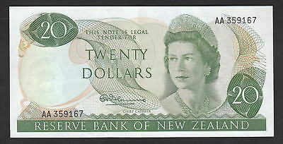 NEW ZEALAND P-167a. (1967) 20 Dollars - 1st Prefix AA.. Fleming.. aU-UNC..