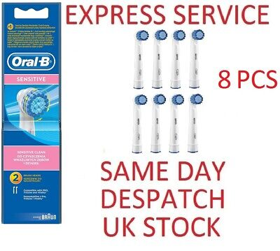 Oral-B SENSITIVE CLEAN 8 PCS Replacement Toothbrush Heads GENUINE
