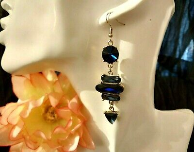 Drop Earrings with crystals Blue Sapphire Swarovski Elements x Hole
