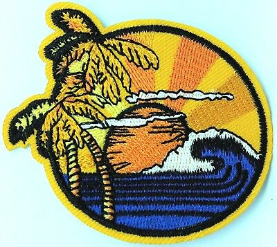 Surf Tropical Sun Embroidered Patch Iron On Travel Happy Waves Palm Tree