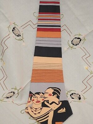 Original Retro 1970's Extra Wide Deco Revival  Print Lady and Man Polyester Tie