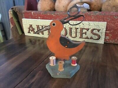 Early Antique Primitive Folk Art Original Painted Bird Sewing Accessory