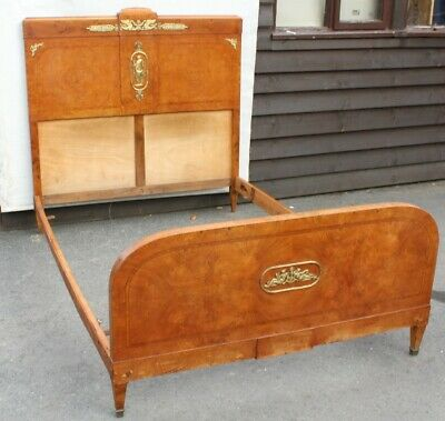 1910-Louis XV1 Walnut bed Frame with Good Brass Decoration