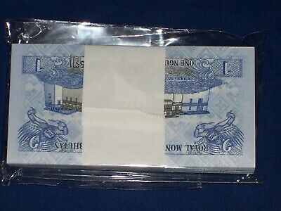 Bundle of 100 Pcs Bank Notes from Bhutan 1 Ngultrum