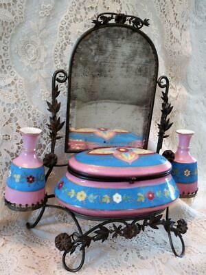 FRENCH ORMOLU HAND PAINTED VANITY MIRROR~SCENT SHAVING Trinket CASKET BOX~~TLC