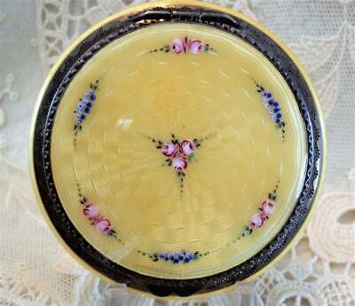 .935 STERLING SILVER, YELLOW HAND PAINTED GUILLOCHE ENAMEL COMPACT w/ PUFF, NICE