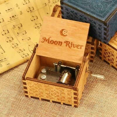 Moon River Music Box Hand-Cranked Toys Xmas Gifts Engraved Wooden Musical Box