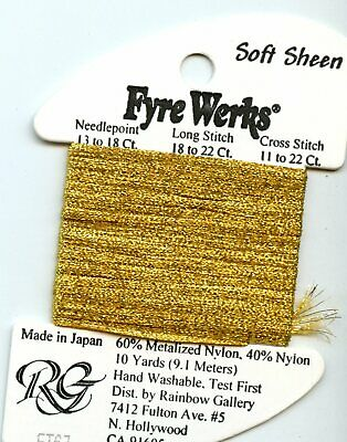 "Rainbow Gallery Fyre Werks Soft Sheen FT67 Inca Gold 1/16"" metallic ribbon 10yds"