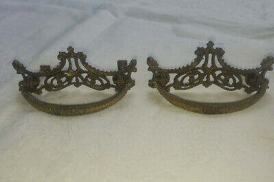 "2 Genuine Antique Brass Ornate Victorian Drawer Pulls Drop Bails 3"" CTC"