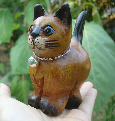 Hand Carved Wooden Cat Figurine Crafted Wood Kitty Kitten looking staring fish