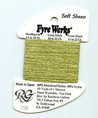 "Rainbow Gallery Fyre Werks Soft Sheen FT68 Daiquiri Green  1/16"" metallic ribbon"