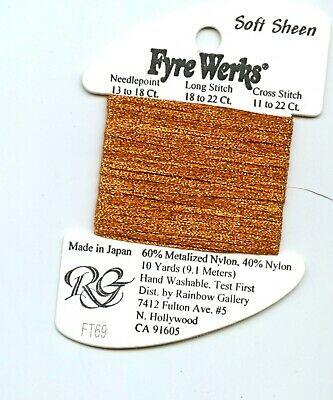 "Rainbow Gallery Fyre Werks Soft Sheen FT69 Burnt Orange  1/16"" metallic ribbon"