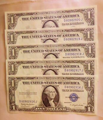 5 Crisp New Consecutively Serial # 1935-H Silver Certificates, Free USA Shipping